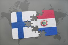 Puzzle with the national flag of finland and paraguay on a world map background. Stock Photos