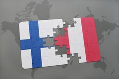 Puzzle with the national flag of finland and peru on a world map background. Stock Image