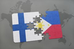 Puzzle with the national flag of finland and philippines on a world map background. 3D illustration Royalty Free Stock Photography
