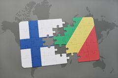 Puzzle with the national flag of finland and republic of the congo on a world map background. 3D illustration Royalty Free Stock Image