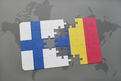 Puzzle with the national flag of finland and romania on a world map background. 3D illustration Stock Images