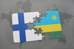 Puzzle with the national flag of finland and rwanda on a world map background. Royalty Free Stock Images