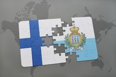 Puzzle with the national flag of finland and san marino on a world map background. 3D illustration Royalty Free Stock Images