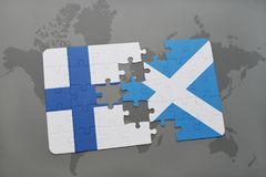 Puzzle with the national flag of finland and scotland on a world map background. 3D illustration Stock Photo