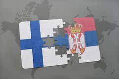 Puzzle with the national flag of finland and serbia on a world map background. 3D illustration Stock Images