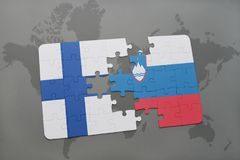 Puzzle with the national flag of finland and slovenia on a world map background. 3D illustration Stock Images