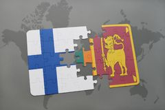 Puzzle with the national flag of finland and sri lanka on a world map background. Stock Images