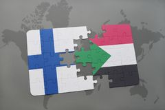 Puzzle with the national flag of finland and sudan on a world map background. 3D illustration Royalty Free Stock Photos