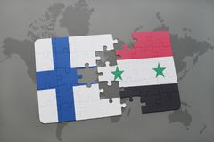Puzzle with the national flag of finland and syria on a world map background. 3D illustration Stock Image
