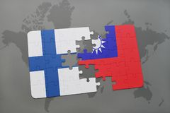 Puzzle with the national flag of finland and taiwan on a world map background. 3D illustration Royalty Free Stock Image