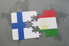 Puzzle with the national flag of finland and tajikistan on a world map background. 3D illustration Stock Image