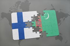 Puzzle with the national flag of finland and turkmenistan on a world map background. 3D illustration Stock Photography