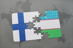 Puzzle with the national flag of finland and uzbekistan on a world map background. 3D illustration Royalty Free Stock Images