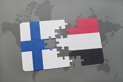 Puzzle with the national flag of finland and yemen on a world map background. 3D illustration Royalty Free Stock Photos
