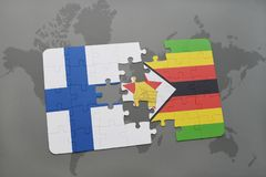 Puzzle with the national flag of finland and zimbabwe on a world map background. 3D illustration Royalty Free Stock Photos