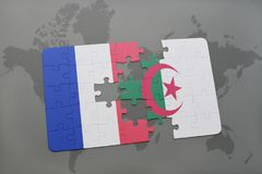 Puzzle with the national flag of france and algeria on a world map background. 3D illustration Stock Images