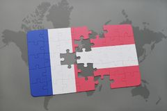 puzzle with the national flag of france and austria on a world map background. Royalty Free Stock Photo