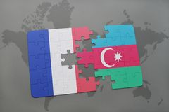 Puzzle with the national flag of france and azerbaijan on a world map background. 3D illustration Stock Images