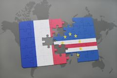 Puzzle with the national flag of france and cape verde on a world map background. 3D illustration Stock Images