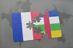 Puzzle with the national flag of france and central african republic on a world map background. 3D illustration Stock Images