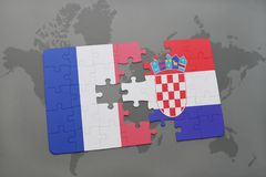 Puzzle with the national flag of france and croatia on a world map background. 3D illustration Royalty Free Stock Image