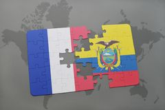 Puzzle with the national flag of france and ecuador on a world map background. 3D illustration Royalty Free Stock Photos