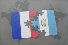 Puzzle with the national flag of france and guatemala on a world map background. 3D illustration Stock Photography