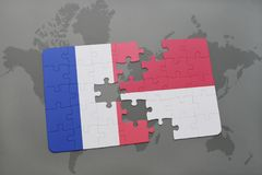Puzzle with the national flag of france and indonesia on a world map background. 3D illustration stock photo