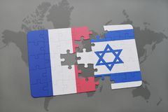 Puzzle with the national flag of france and israel on a world map background. 3D illustration vector illustration