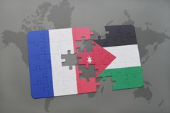Puzzle with the national flag of france and jordan on a world map background. 3D illustration Royalty Free Stock Images