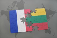 Puzzle with the national flag of france and lithuania on a world map background. 3D illustration Stock Image
