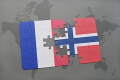 puzzle with the national flag of france and norway on a world map background. Royalty Free Stock Photography