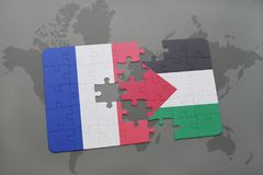 Puzzle with the national flag of france and palestine on a world map background. 3D illustration Stock Photos