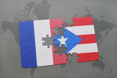 Puzzle with the national flag of france and puerto rico on a world map background. 3D illustration Stock Photo