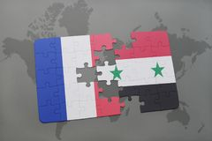 Puzzle with the national flag of france and syria on a world map background. 3D illustration Royalty Free Stock Photos