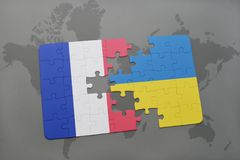 Puzzle with the national flag of france and ukraine on a world map background. 3D illustration Stock Photography