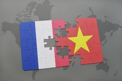 Puzzle with the national flag of france and vietnam on a world map background. 3D illustration royalty free stock images