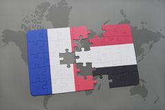 Puzzle with the national flag of france and yemen on a world map background. 3D illustration Stock Images
