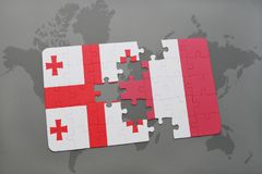 Puzzle with the national flag of georgia and peru on a world map. Background. 3D illustration stock images