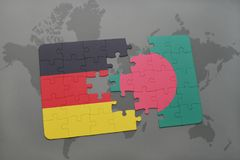 Puzzle with the national flag of germany and bangladesh on a world map background. 3D illustration royalty free stock photo