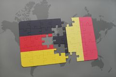 Puzzle with the national flag of germany and belgium on a world map background. 3D illustration stock photo