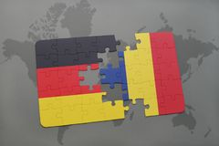 Puzzle with the national flag of germany and chad on a world map background. 3D illustration royalty free stock photo