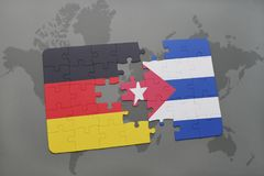 Puzzle with the national flag of germany and cuba on a world map background. 3D illustration royalty free stock photography