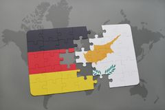 Puzzle with the national flag of germany and cyprus on a world map background. 3D illustration stock photos
