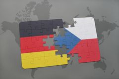 Puzzle with the national flag of germany and czech republic on a world map background. 3D illustration stock image