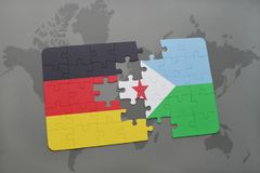 Puzzle with the national flag of germany and djibouti on a world map background. 3D illustration stock photo