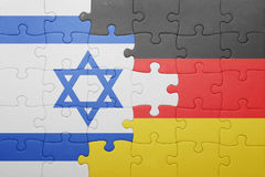 Puzzle with the national flag of germany and israel. Concept Stock Image