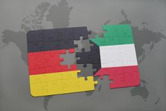Puzzle with the national flag of germany and kuwait on a world map background. 3D illustration Royalty Free Stock Photo