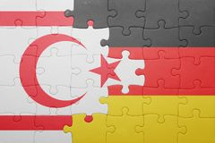 Puzzle with the national flag of germany and northern cyprus Royalty Free Stock Photo
