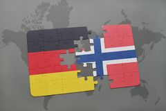 Puzzle with the national flag of germany and norway on a world map background. 3D illustration stock photography